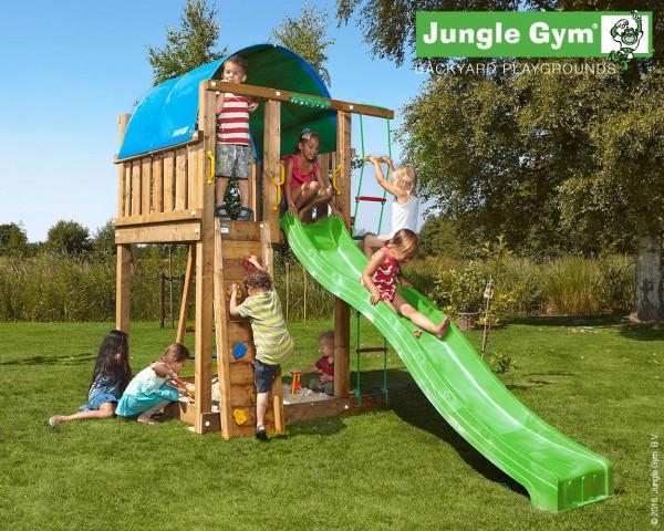 Spielturm Villa Jungle Gym mit Strickleiter, Kletterseil, Kletterwand, Sprossenleiter und Rutschbahn - bowi.ch
