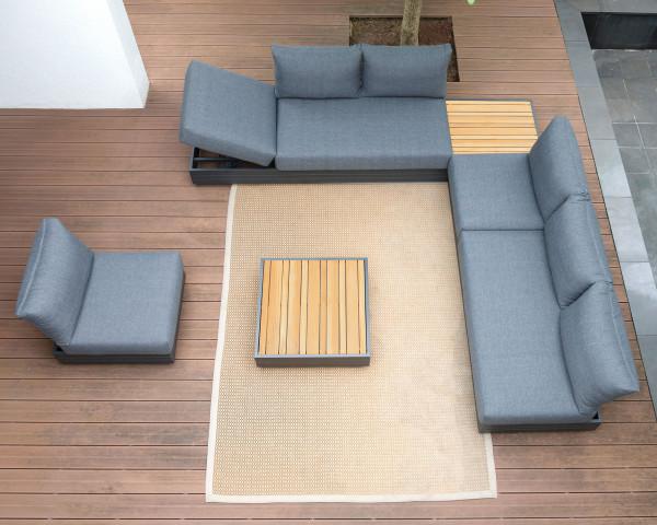 Garten Lounge Set Gross Cubo verstellbar Olefin Bezug Dunkelgrau Aluminium Gestell Garternmöbel BOWI - bowi.ch