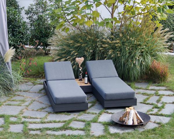 Garten Lounge Set Cubo verstellbar Olefin Bezug Dunkelgrau Aluminium Gestell Garternmöbel BOWI - bowi.ch
