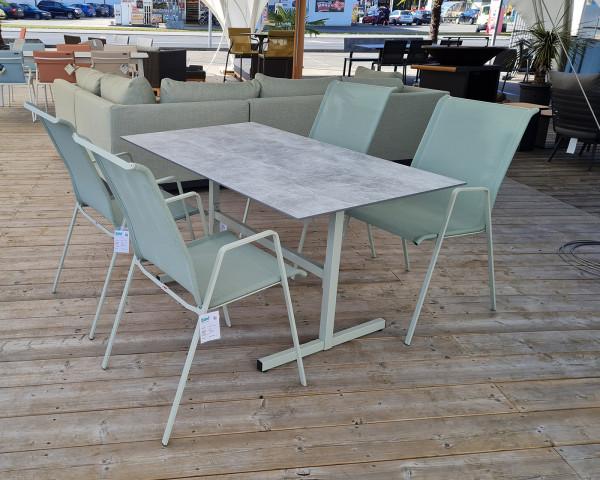 Gartentisch Set Basel Luzern Gestell Pastellgrüen Textilen Cremegrün Tischplatte dekor Beton Schaffner - bowi.ch