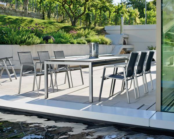 Garten Tisch Set HPL PLatte Gestell Graphit für 6 Personen auf Terrasse - bowi.ch