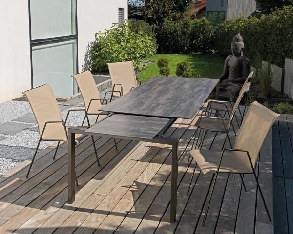 Gartentisch set Luzern Auszug Sessel Sandfarben Tischplatte decor Schaffner Gartenmöbel BOWI - bowi.ch