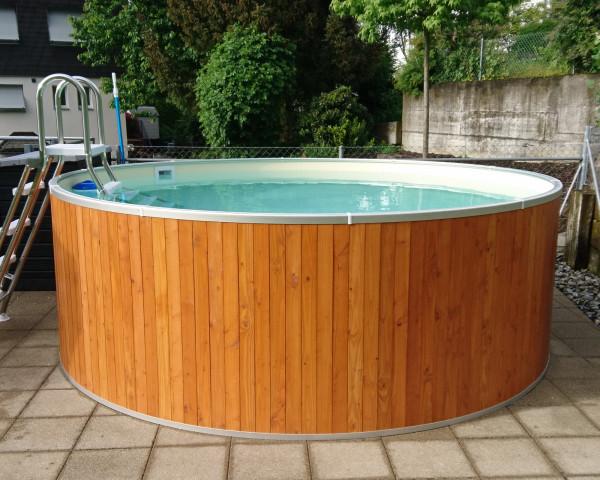 Swimming Pool mit Holzverkleidung rund Typ FUN WOOD aufgestellt - bowi.ch