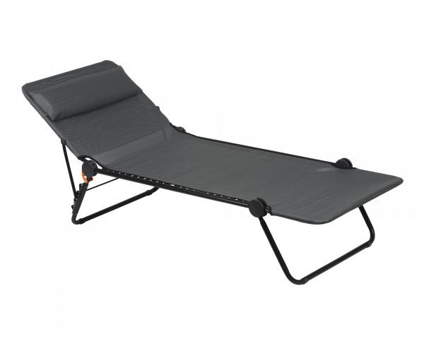 Lafuma Liegestuhl zum klappen in der Farbe Obsidian als freigestelltes Bild - bowi.ch