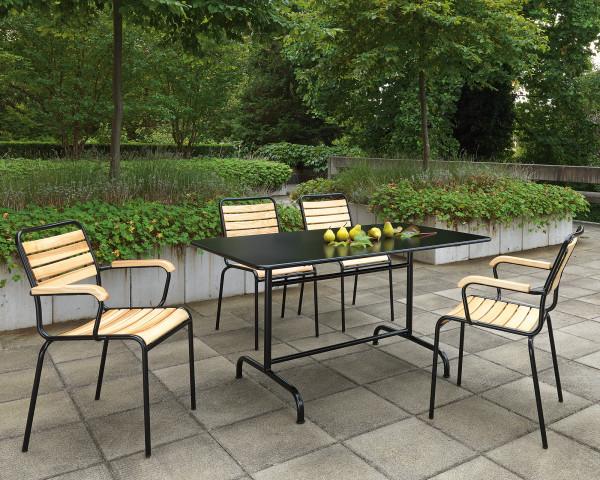 Gartentisch Essgruppe Rigi Eschenholz aus der Schweiz Natur farben Gestell Anthrazit Schaffner - bowi.ch