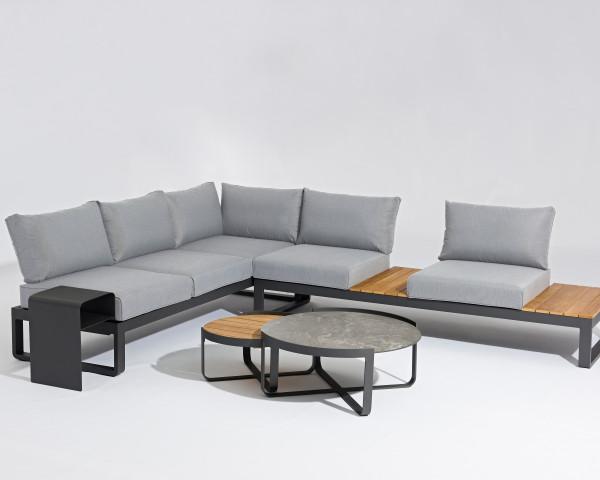 Garten Lounge 3er Bank Fly verstellbar Olefin Bezug Grau Aluminium Gestell Garternmöbel BOWI - bowi.ch