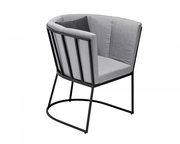 Lounge Corner Sessel Dining Aluminium Anthrazit Kissen Sunbrella® Grau-Gartenmöbel BOWI - bowi.ch