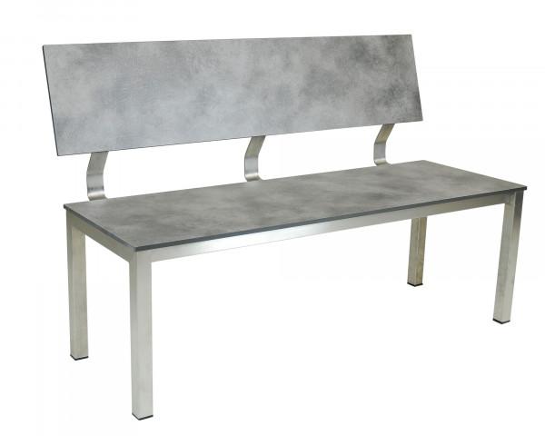 Gartenbak Tempo neu mit Rückenlehne Sitz- und Rücken aus HPL Platten Gestell Edelstahl - bowi.ch