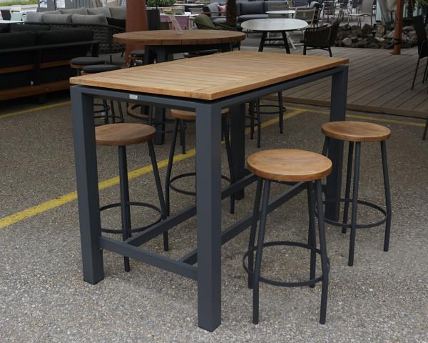 Gartenbar Set Concept mit Hocker Canada Teakholz Gestell Aluminium Anthrazit - bowi.ch
