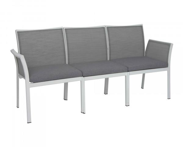 Gartenbank Gianni 3-teilig Gestell Aluminium Weiss Textilen Silber - bowi.ch