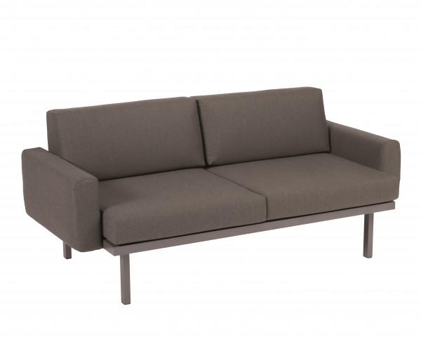 Garten Lounge Sylt Sofa mit Polster Armlehnen Grau Metallic wasserfeste Kissen Karasek Gartenmöbel BOWI - bowi.ch