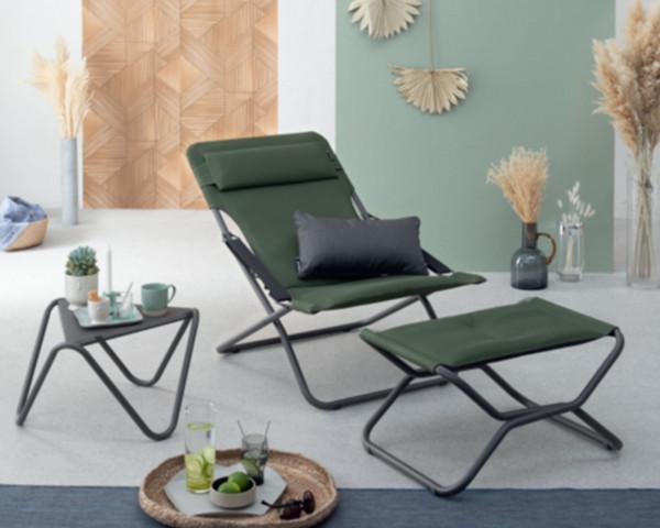 Transabed klappbar Be Comfort Olive mit Fussteil Next und Beistelltisch Vogue in TItane - bowi.ch