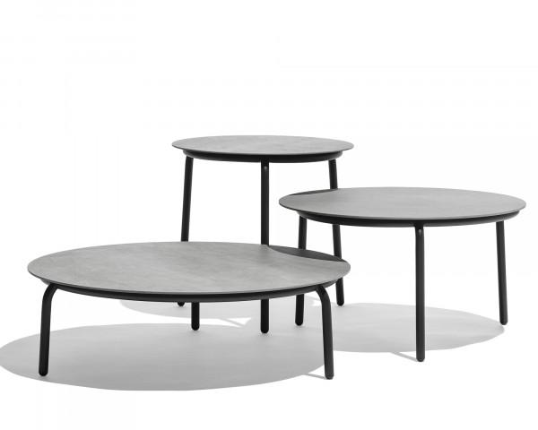 Beistelltisch Starling Rund Tischplatte Keamik Gestell Edelstahl Anthrazit - bowi.ch
