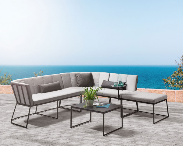 Lounge Corner Set Links Aluminium Anthrazit Kissen Sunbrella® Grau-Gartenmöbel BOWI - bowi.ch