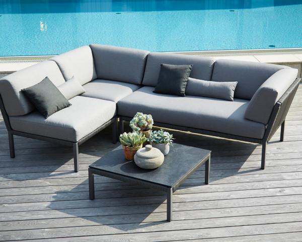 Garten Lounge Club Kordel wasserfeste Kissen Kordel Anthrazit Aluminium Gestell Anthrazit Gartenmöbel BOWI - bowi.ch