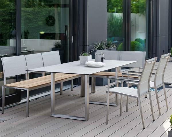 Gartentisch Set Arima HPL Tischplatte Kufen Beine 3er Bank 2er Bank Sessel Cardiff Gartenmöbel Bowi - bowi.ch