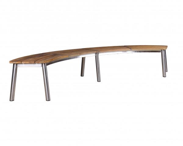 Gartenbank Trix Oval Teak recycelt Edelstahl Fuss 270 x 80 x 46 cm - bowi.ch