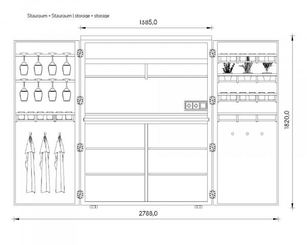 Cubic Outdoorküche Zeichnung geöffnet mit Massen - bowi.ch