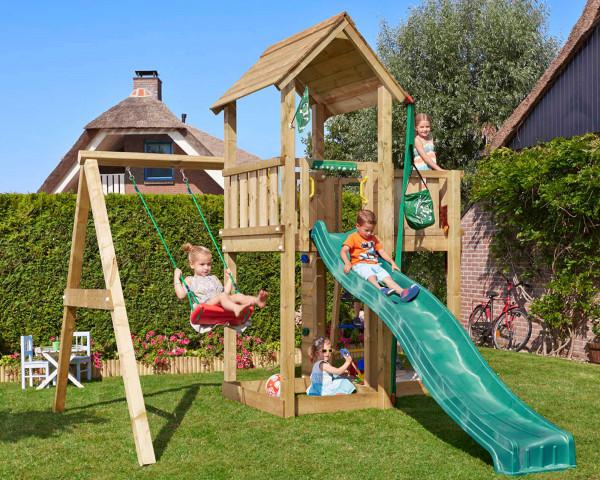 Spielturm Mansion Jungle Gym mit Anbauschaukel und Kindern - bowi.ch