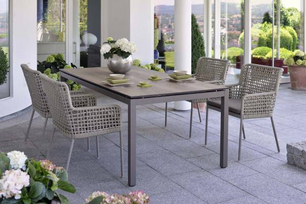 Gartentisch Set 4er Greta Stern® Allround Tisch Taupe Gartenmöbel - bowi.ch
