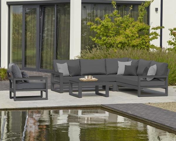 Garten Lounge Set Mallorca mit Sessel Beistelltisch und l-Fom Lounge Softex Kissen - bowi.ch