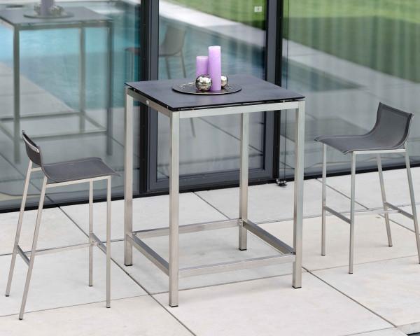 Gartenbar Tisch Allround Edelstahl HPL Platte 80 x 80 x 108 cm mit 2 Barny Barhocker - bowi.ch