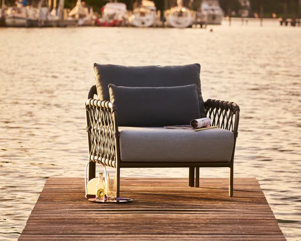 Garten Lounge Caro Sessel Kordel wasserfeste Kissen Kordel Anthrazit Aluminium Gestell Anthrazit Gartenmöbel BOWI - bowi.ch