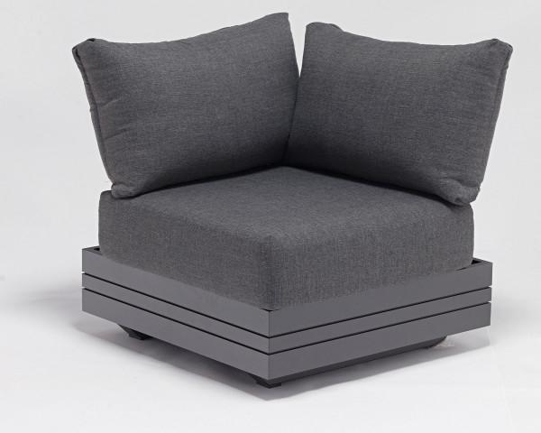 Garten Lounge Eck Cubo verstellbar Olefin Bezug Dunkelgrau Aluminium Gestell Garternmöbel BOWI - bowi.ch