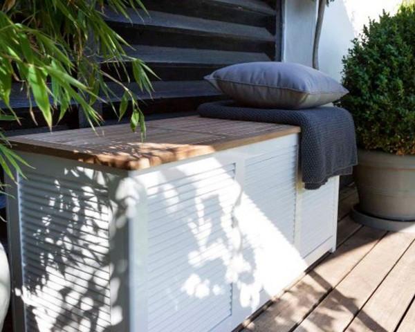Kissenbox / Aufbewahrungsbox Classic Mahagoni Weiss 130 x 50 x 60 cm - bowi.ch