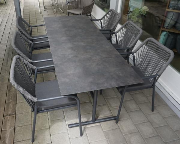 Gartentisch Set 6er Pin Bistro Objekt klappbar stapelbar HPL Platte Sessel geschnürt Ausstellung - bowi.ch