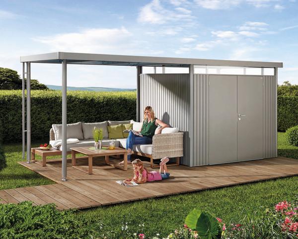 Das Gerätehaus HighLine® H3 mit Flachdach, Seitendach und durchgehendem Oblicht Silber Metallic Doppeltüre - bowi.ch