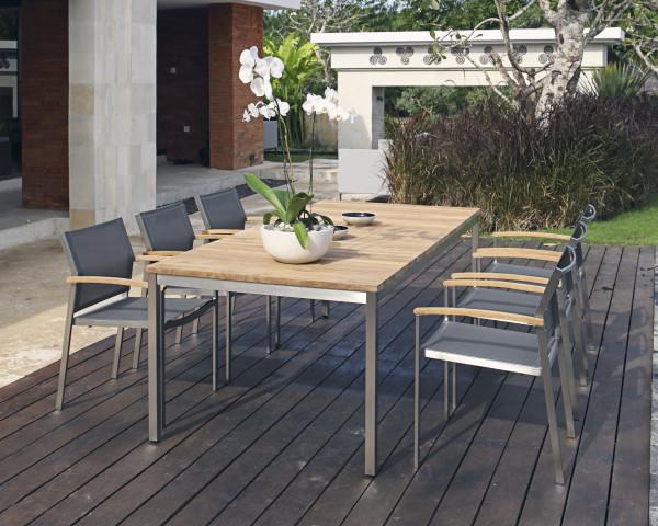 Gartentisch Set Naxos Setax Teakholz recycelt Edelstahlgestell Stapelstuhl Textilen Gartenmöbel BOWI - bowi.ch