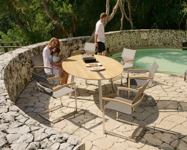 8er Gartentisch Set Trix Oval Teakholz Recycelt Edelstahlgestell Freischwinger Setax Sessel Gartenmöbel - bowi.ch