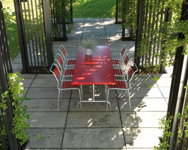 Gartentisch Set Säntis Rot Feuerverzinkt für 6 Personen klappbar stapelbar Schaffner Gartenmöbel BOWI - bowi.ch