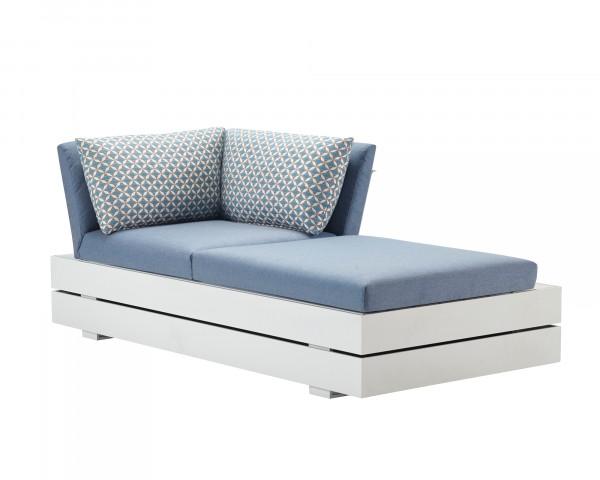 Garten Lounge Boxx 2er Chaiselounge Links wasserfeste Kissen in Hellblau Zierkissen gemustert Grestell Aluminium Weiss mit Aufbewarungsboxox - bowi.ch