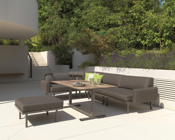 Garten Lounge Dinig Set Sylt Carbon Tisch HPL tiefe Sitzfläche Sooty Karasek Gartenmöbel BOWI - bowi.ch