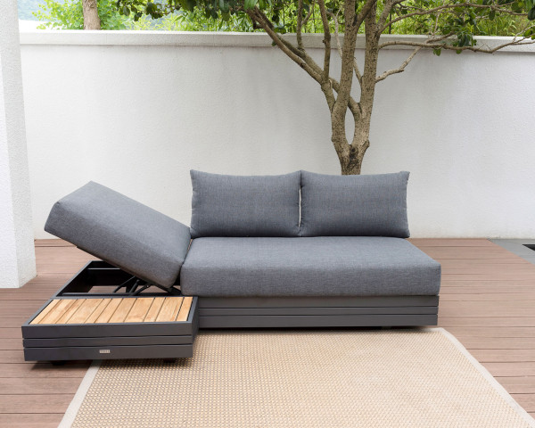 Garten Lounge 3er Bank Cubo verstellbar Olefin Bezug Dunkelgrau Aluminium Gestell Garternmöbel BOWI - bowi.ch