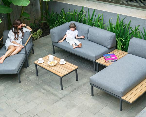 Garten Lounge Set Hudson Gross wasserfestes Textilen Grau Gestell Edelstahl gepulvert Gartenmöbel BOWI - bowi.ch