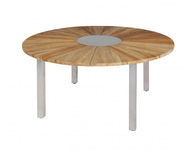 Gartentisch Onyx rund recyceltes Teakholz Edelstahl Einlageplatte und Gestell - bowi.ch