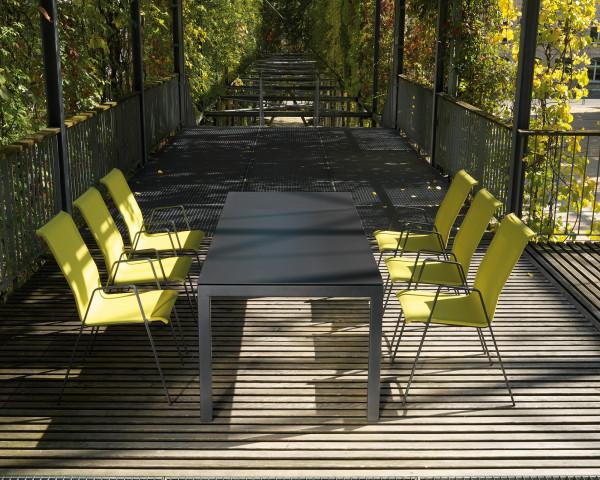 Gartentisch Set Luzern Auszug Sessel Oliven Grün Tisch Fiberglas Anthrazit Schaffner Möbel - bowi.ch