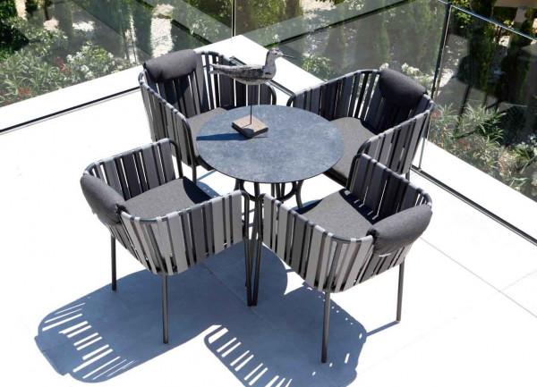 kleiner runder Gartentisch Space HPL Vitage Grau Aluminium Gestell - bowi.ch