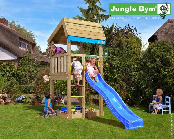 Spielturm Home Jungle Gym mit Sprossenleiter, Rutschbahn und Holzdach - bowi.ch