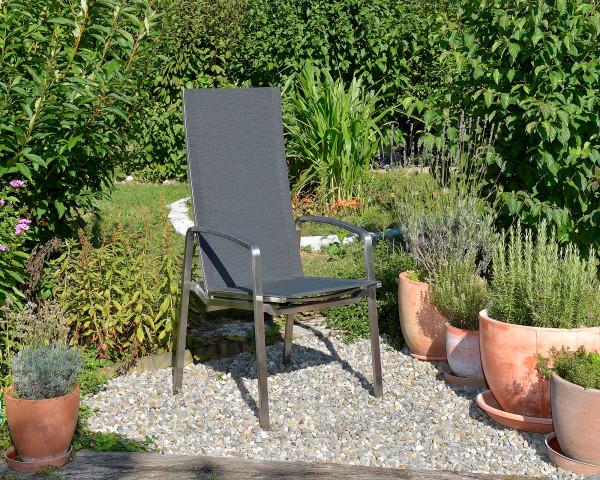 Gartenstuhl Tinto Hochlehner verstellbar mit Gasdruckfeder Textilen Bespannung Edelstahl - bowi.ch