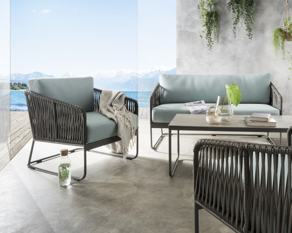Garten Lounge Set Carvallo 2er Sofa 2 Sessel Beistelltisch Keramikplatte Gartenmöbel BOWI - bowi.ch