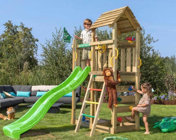 Spielturm Safari Jungle Gym mit Rutschbahn, Sprossenleiter und Plüschaffe - bowi.ch