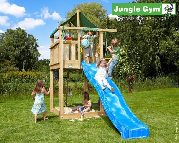 Spielturm Lodge Jungle Gym mit Planendach, Rutschbahn, Sprossenleiter und Sankdaksten - bowi.ch