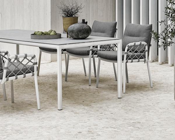 Gartentisch Soft Keramik Tischplatte Gestell Aluminium Weiss - bowi.ch