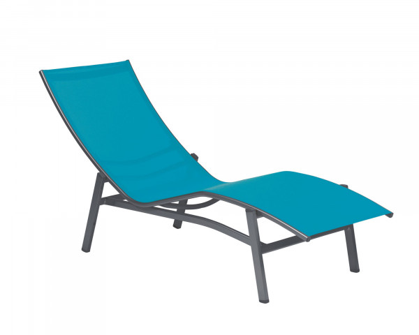 Liegestuhl Wellness Liege Caribic Alu Grau Metallic Textilen hellblau - bowi.ch