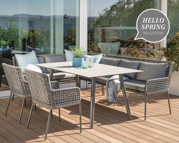 Gartentisch Set Greta Geschnürt Platin Anthrazit Stern® Hello Spring - bowi.ch