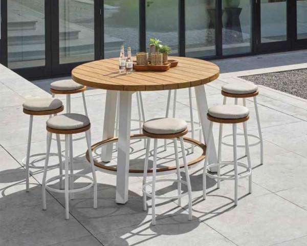 Gartenbar Tisch Texas rund Teakholz - bowi.ch